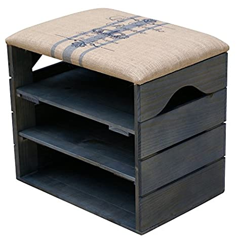 LIZA Shoes Bench (PETROLEUM BLUE) - Premium Vintage Wooden Shoe Rack Organiser, Storage, Cabinet, Holder Bench with Soft Seat Cushion for Entryway, Hallway. Solid Nordic Wood - (Blue