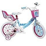 """Mondo Mondo-25282 Toys-Bici MOD. Frozen II Bambina-Misura rotelle e Freno Anteriore/Posteriore Azzurro/rosa-25282, Colore bianconero, 14"""", 163562"""