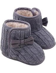 Koly® Bebé Bowknot Zapatos de suela blanda Invierno zapatos calientes Botas (Gris, 12)