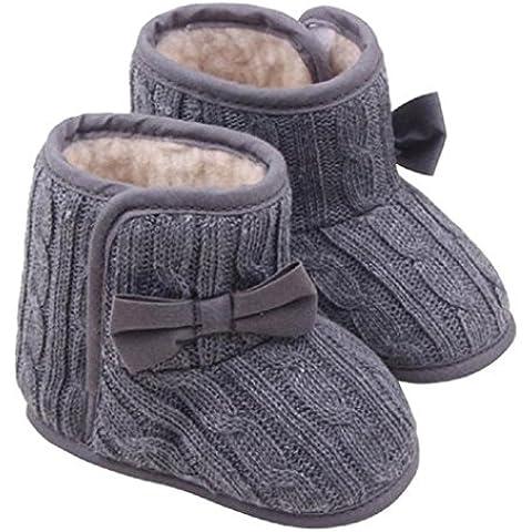 Koly® Bebé Bowknot Zapatos de suela blanda Invierno zapatos calientes Botas (Gris, 11)
