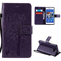 Sony Xperia M2 Case,Skin Durable Protective Case Premium PU Leather Wallet Case Durable Protective Case with Kickstand and Credit Card Slot Cash Holder Flip Cover for Sony Xperia M2 Purple