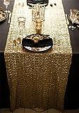"""trlyc 33x 213,4cm Paillette Pour Mariage et décoration de table rectangle Chemin de table à sequins couleurs sont disponibles, Autre, doré, 13""""*84"""" sequin tablerunner"""