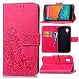 Guran Custodia in Pu Pelle Lucky Clover Flip Cover per LG Nexus 5 Smartphone avere Portafoglio e Funzione Stent Modello di Trifoglio Fortunato Copertura Protettiva - Rosa rossa