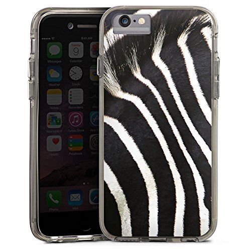 Apple iPhone X Bumper Hülle Bumper Case Glitzer Hülle Zebra Dschungel Animal Print Bumper Case transparent grau