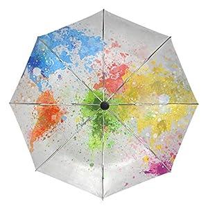 baihuishop mapa del mundo pintura resistente al viento lluvia paraguas Auto abierto cerca 3plegable resistente protección UV paraguas de viaje compacto ligero portátil fácil de llevar