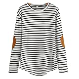 Frau Lange Ärmel Blusen CLOOM Gestreifte Longbluse Tops Ohne Kragen Business RüSchenbluse Elegante Sweatshirt Abend Blusen Festlich Blusenjacke Edle Pullover Bluse Tailliert Shirt (Weiß, XL)
