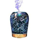 Souarts 3D Glass Aroma Diffuser Duftlampen 3D Glas 100ml Nachtlampe mit 7 Farben Luftbefeuchter Nachtlicht Oil Düfte Humidifier für Badezimmer Wohnzimmer Büro