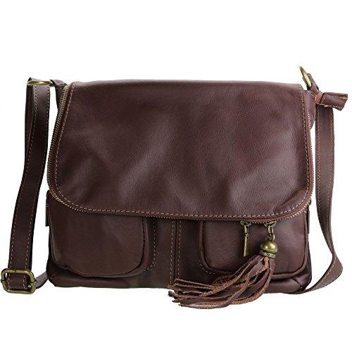 Olivia–Umhängetasche Damen unterzeichnet Olivia/Tasche aus Echtleder/weichem Leder, Schwarz - schwarz - Größe: Unique schokoladenbraun