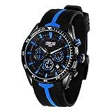 Time100 Multifunktionale Umweltfreundliche Sportuhr aus Silikon Quarzwerk Armbanduhr Männer Mode Wasserdichte Runde Armbanduhr(Blau,136g)