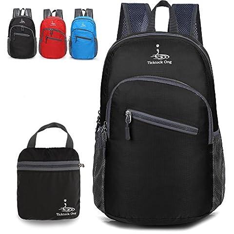 Leichter Rucksack Faltbar Wasserdicht Tagesrucksack für Damen für Herren - 18L (schwarz)