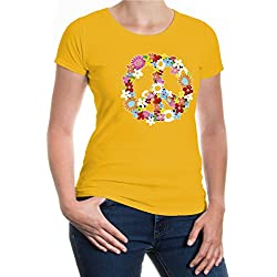Girlie T-Shirt Peace-Flower-Symbol-XS-Sunflower-z-direct