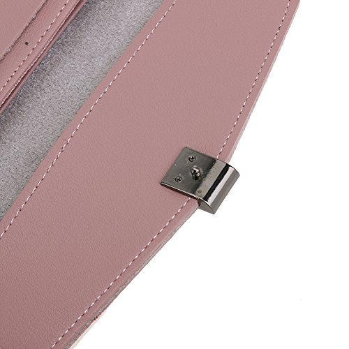 Amazingdeal365 Nuova Moda Donna Pu Pelle Bottone Design Card Holder Portafoglio Flip Borsa (Nero) Rosa