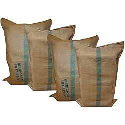 Sacos de Yute, 50 kgrs, 60 x 90 cm, para almacenaje, de jardinería, huerto,cultivo, frutas, verduras,... de Yute , Arpillera 60x90 cms., Pack de 4 sacos de yute natural