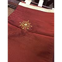 Mogul Interior Sheer Organza Curtains Panel Maroon Embroidered Drapes Window Treatment With Tab Top