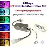 24 Keys RadioFrequency Netzteil Controller Set für 230V LED RGB mehrfarbig Strip Streifen, mit 24 Keys RadioFrequency (RF) dimmbar Fernbedienung, Dimmfunktion, Farbsequenz Farbreihenfolge programmierbar (Zubehören, RF Netzteil-Controller)