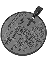 Colgante redondo de acero inoxidable con cruz y católica se ruega nuestro padre en español, 4,8 cm, diseño de joyas