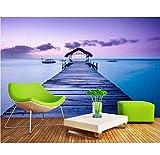 Xzfddn Kundenspezifische Fototapete 3D Stereoskopische Malediven-Meerblickbrücke 3D Tapete Modern Für Wohnzimmerwandgemälde-200X140CM