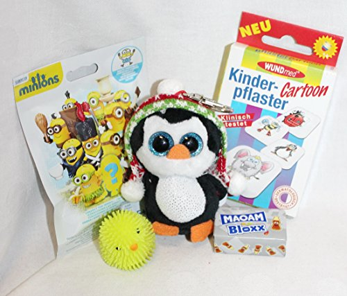 110690 Weihnachts Geschenk Set Penelope Pinguin Schlüsselanhänger 8,5cm als Geschenk verpackt mit Minions Pflaster