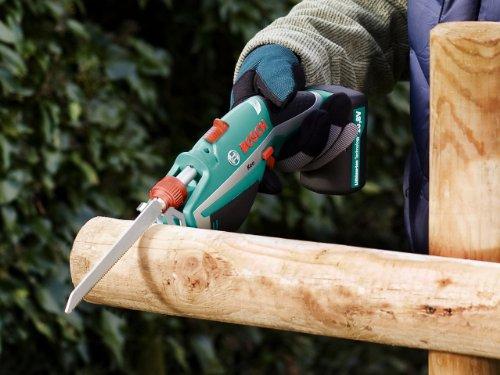 """Bosch DIY Akku-Gartensäge Keo, Haltebügel """"A-Grip"""", Messer für Frischholz, 3h-Lader (10,8 V, max. Ø 80 mm Schneidekapazität) - 5"""