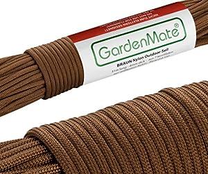 GardenMate® Professionelles Nylon Outdoor-Seil BRAUN 31m lang - 4mm dick - Kernmantel-Seil aus 7 Kernfäden - aus reißfestem Nylon - Paracord 550