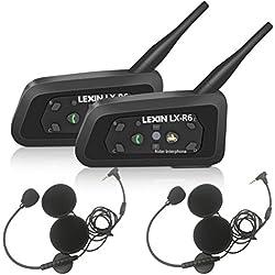 LEXIN 2X LX-R6 Intercom Moto Bluetooth avec Écouteur/Microphones, Systèmes de Communication Moto Sans Fil,1-6 Motards Portée de 1 Mile pour Motocycle/Motocyclette