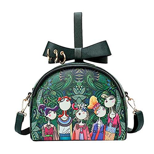 HCFKJ Tasche, Frauen-Waldmädchen-Muster, der metallische kreisförmige hängende Halbkreis-Handtasche druckt (GN)