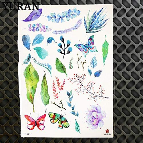 Temporäre Tätowierung Aufkleber 3D Schmetterling Animation Zeichnung Körper wasserdichte Tattoos Kind Arm Hände Blume Tatoos, Gth031 ()