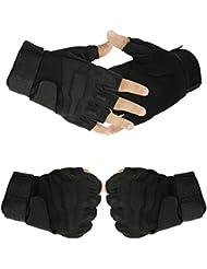 Japace® Cool Tamaño XL Asalto Guantes Tácticos Guantes sin Dedos Finger Media Guantes de Boxeo Guantes Gloves para Ciclismo Bike Deporte --- Negro
