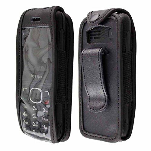 caseroxx Handy-Tasche Ledertasche mit Gürtelclip für Bea-fon Classic Line C60 aus Echtleder, Handyhülle für Gürtel (mit Sichtfenster aus schmutzabweisender Klarsichtfolie in schwarz)
