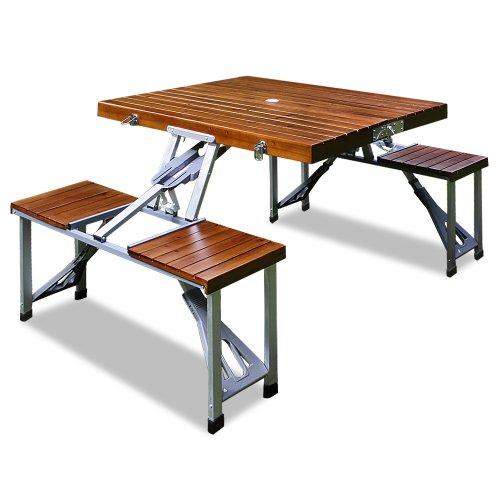 Camping Sitzgarnitur aus Alu ✔ Tischplatte aus Echtholz ✔ Kofferfunktion ✔ 4 Sitzplätze ✔ klappbar ✔ Campingtisch Campingmöbel Sitzgruppe ✔ Modellauswahl