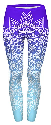 FRINGOO® Womens Yoga Pilates Leggings Fitness Workout Running Gym Tights Super Comfy 8 10 12 (UK: 8 - 10 - 12, Mandala Ombre Blue)