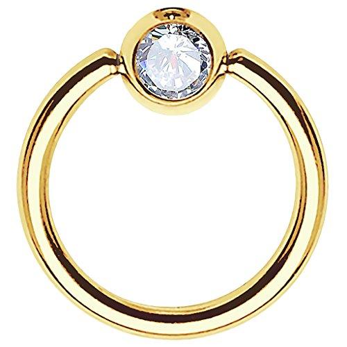 Piersando BCR Piercing Ring Universal Klemmring mit Zirkonia Kristall Klemm Kugel für Septum Brust Tragus Helix Nase Lippe Ohr Intim Nippel Chirurgenstahl Gold Clear 1,0mm x 10mm x 3mm