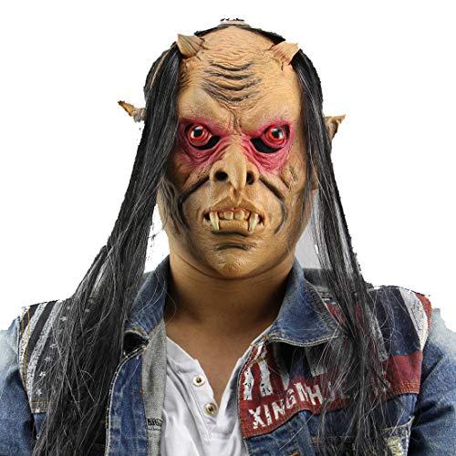 Halloween Horror Masken Latex Vollgesicht Monster Kopfmaske mit roten Augen und Gary Haar für Halloween Kostüm Party