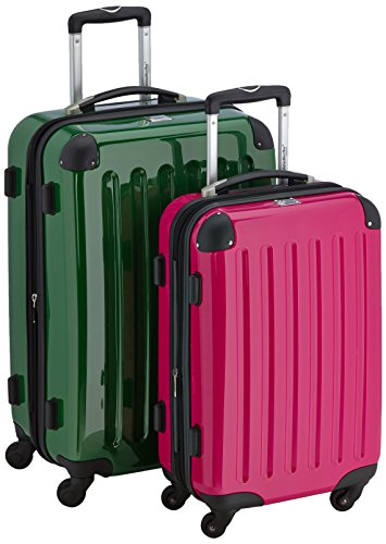 HAUPTSTADTKOFFER - Alex - 2er Koffer-Set Hartschale glänzend, TSA, 65 cm + 55 cm, 74 Liter + 42 Liter, Orange-Aubergine Grün-Magenta