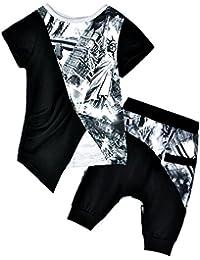 Tkria Garçon 2 Pièces Ensemble Imprimé Motif T-shirt Tops avec Pantalon Harem Sarouel Vêtements Sets pour Enfant 1-7 Ans