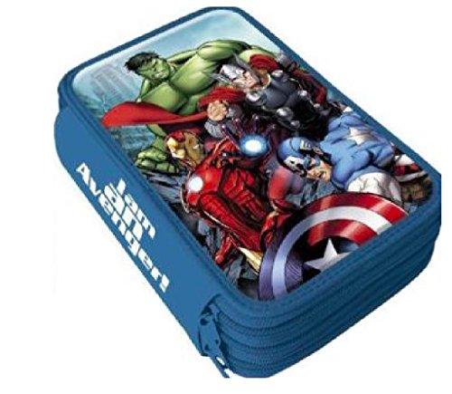 Marvel Avengers Hulk Thor Captain America Iron Man 3-FÄCHER 42 TEILE FEDERMAPPE FEDERTASCHE ETUI...