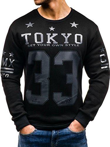 BOLF – Sweat-shirt – Manches longues – U-neck – MADMEXT 1216 – Homme Noir