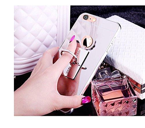 """iPhone 6/6S Plus 5.5"""" Miroir Case,iPhone 6/6S Plus 5.5"""" Coque pour Fille,Hpory élégant Luxe Miroir Hard PC Bouteille de Parfum Motif Ring Stand Holder Bling Brillant Shiny Glitter Crystal Rhinestone D Bouteille de parfum,Or rose"""