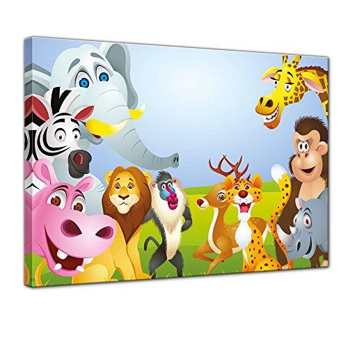 (Bilderdepot24 Kunstdruck - Kinderbild Tiere Cartoon V - Bild auf Leinwand - 40x30 cm Einteilig - Leinwandbilder - Bilder als Leinwanddruck - Wandbild Kinder - lustige Dschungeltiere im Fokus)