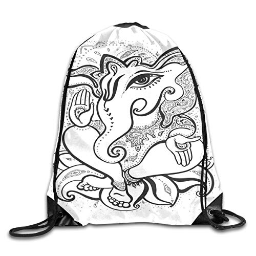 ckpack Gym Bags Storage Backpack, Spiritual Elephant with Big Eyes Paisley Crown and Oriental Symbolism of Life,Deluxe Bundle Backpack Outdoor Sports Portable Daypack ()