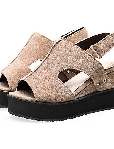 LFNLYX Chaussures Femme-Extérieure / Habillé / Décontracté-Noir / Gris / Bordeaux / Amande-Talon Compensé-Compensées / Bout Ouvert / A Plateau / Burgundy