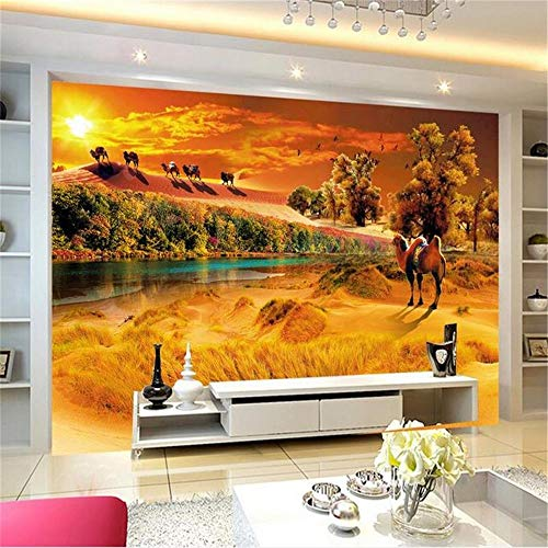 Sucsaistat Tapete Wandbild Zimmer 3D Foto Tapete Kamel Wüste Oase Twilight Landschaft Foto Hintergrund Vlies Wandbild, 300 * ()