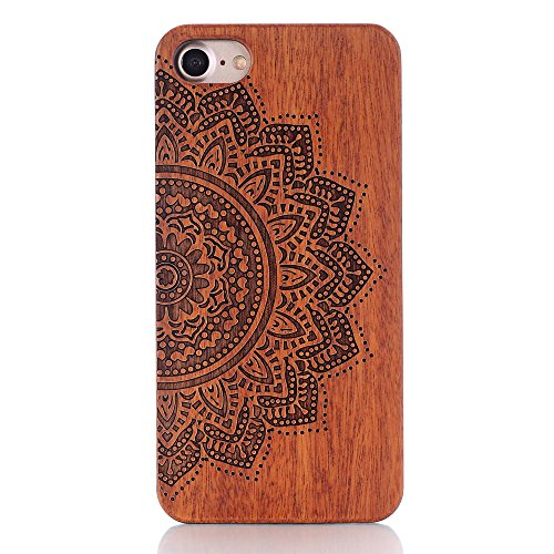 G-i-Mall iPhone 7 Holzhülle - Ultraslim Handyhülle Echtem Holz Schutz Hülle Schale mit PC Bumper Hart Cover Case Etui für Apple iphone 7 4.7 Zoll Smartphone, Wood Cover#4 Wood Skins #5
