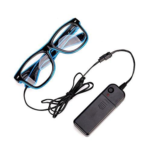 Sbarden Leuchtbrille LED Partybrille, Batteriebetrieben LED-Neon-Brille für Partys, Kostümfeste, Bälle, Diskos, Halloween, Geburtstage, Festivals (Blau) (Erdbeer-halloween-kostüm)