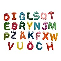 Fat.chot-Toys A-Z Alphabet Magnetic Letters Words Wooden Cartoon Fridge Magnet For Literacy & Spelling-Kid Baby Educational Toy-Educational Alphabet Refrigerator Magnets 26pcs/Set