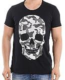 Red Bridge Herren T-Shirt Casual Camo Skull Motiv mit Strasssteinen Shirt (XL, Schwarz)
