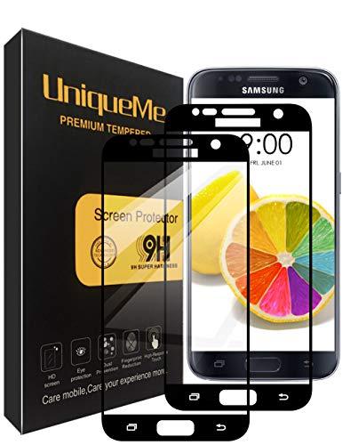 UniqueMe Compatible with Schutzfolie Galaxy S7,Galaxy S7 Panzerglas, [2 Stück] Full Cover Gehärtetem Glas Hartglas Displayschutzfolie mit Lebenslange Ersatzgarantie - Schwarz