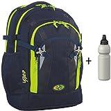 YZEA by Take it Easy Schulrucksack PRO mit Trinkflasche - viele Farben und Dessins (NIGHT (Marine / Neon-Gelb))