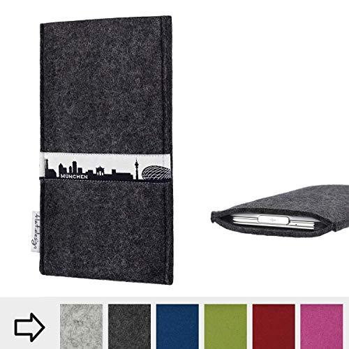 flat.design für Energizer P20 Schutzhülle Handy Tasche Skyline mit Webband München - Maßanfertigung der Schutztasche Handy Hülle aus 100% Wollfilz (anthrazit) für Energizer P20