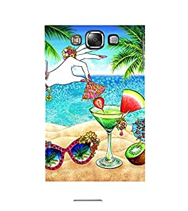 BEAUTIFUL HANDS OF A GIRL ADORNED WITH JEWELLERY PICKING STRAWBERRY FROM MOCKTAIL LYING ON BEACH NEXT TO SUNGLASSES AND COCONUT WATER 3D Hard Polycarbonate Designer Back Case Cover for Samsung Galaxy E7 :: Samsung Galaxy E7 E700F (2015)